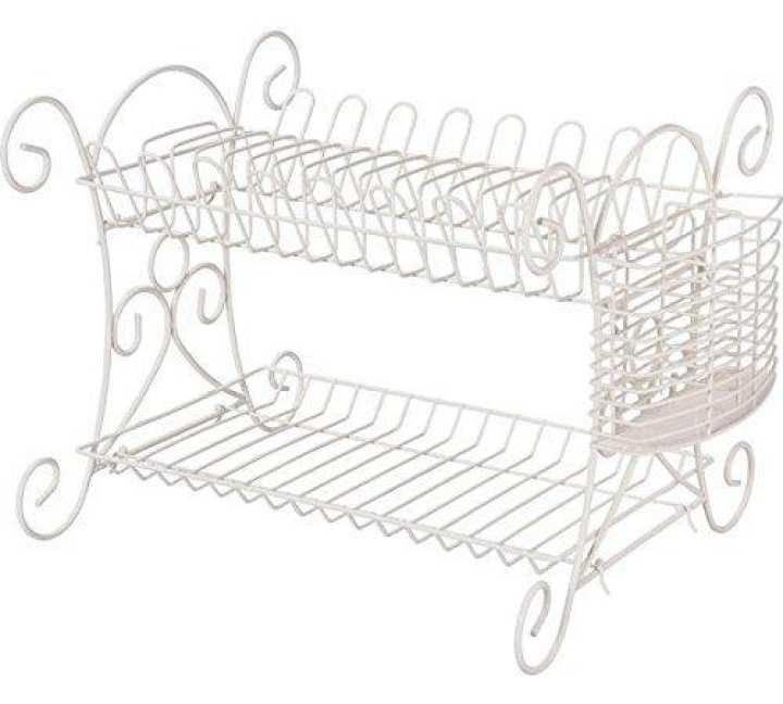 Deluxe High Quality White Heart of House Scroll Dish Rack