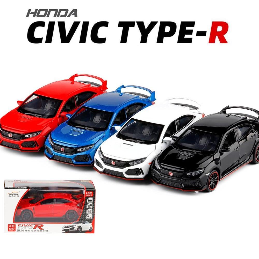 Dextro Honda Civic X Type R Metal Body Diecast Model Toy Pull Back with Light Sound - Multi