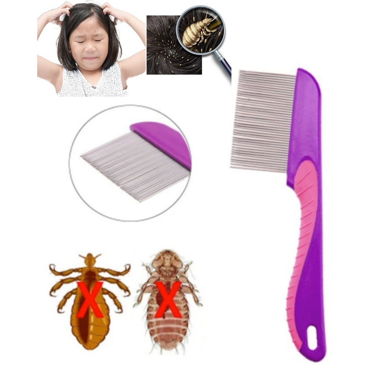 Anti Lice Comb & Nit Comb With Handle Stainless Steel for men women