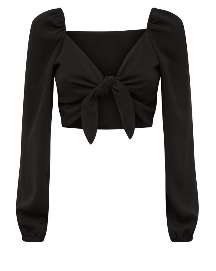 d4e4bd3c1b1b6 Black Balloon Sleeves Tie Front Crop Top For Women. RID-272  Buy Sell Online    Best Prices in Pakistan