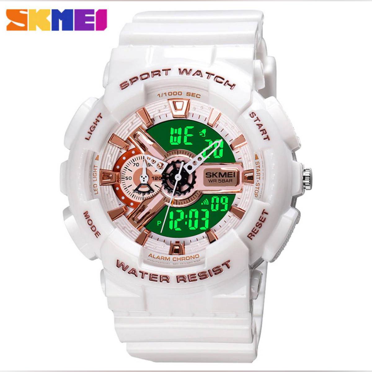 SKMEI 1688 Dual Display Waterproof Watch for Men Women - Black Gold