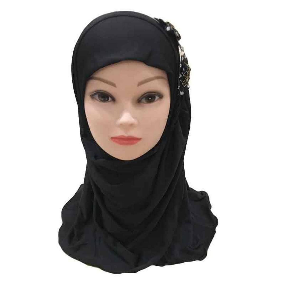 Muslim Kids Girls Hijab Islamic Headscarf Diamontes Flower Scarf One Piece Children Full Cover Makna Wrap Cover 2-7Y