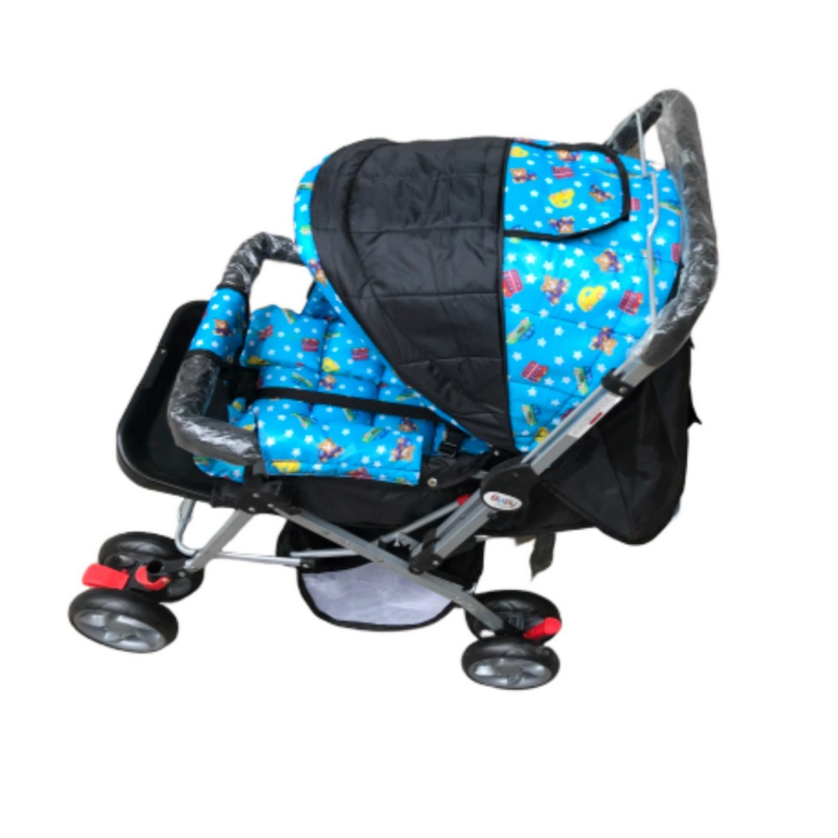 8 Big Tyres Alloy Foldable Baby Stroller Pram For Newborn Double Handle