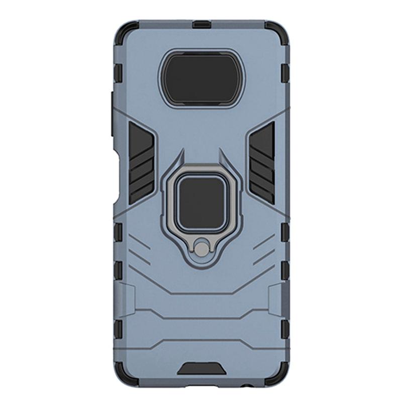 for POCO X3 NFC Case Ring Holder Armor Bumper Hard PC & Soft TPU for Xiaomi POCO X3 NFC Coques(Dark Blue)