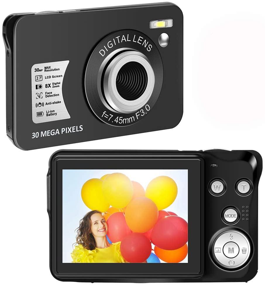 HD 1080P Digital Camera Vlogging Camera 30 MP Mini Camera 2.7 Inch LCD Screen Camera with 8X Digital Zoom Compact Cameras for Adults, Kids, Beginners
