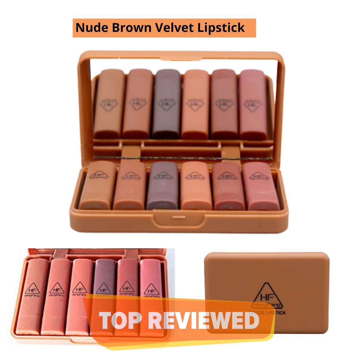 Hengfang Waterproof 6pcs Matte Brown Velvet lipstick Mini nude Makeup Lip kit set- Color family (Red, Brown)
