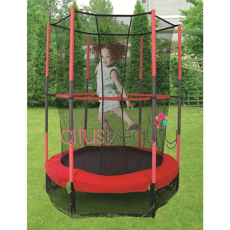 "55"" 4.5FT Junior Trampoline With Enclosure Safety Net Kids Activity"