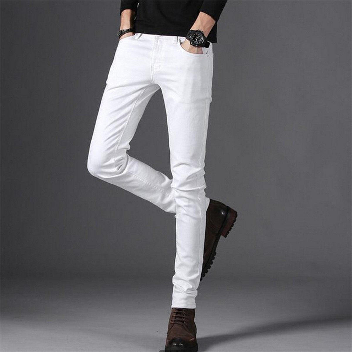 White Color Cotton Jeans Pants for Boys and Adults