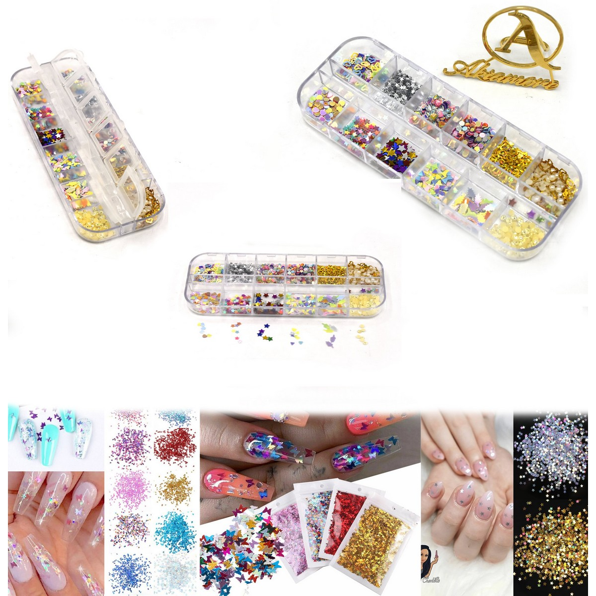 pack of 12-Tiny Sparkle Heart Wedding Party Confetti Nail Sequins Flakes Art Glitter Decorations Table Decoration Party Decor