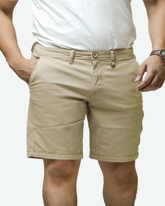 Mens Short Beige Plain For Men
