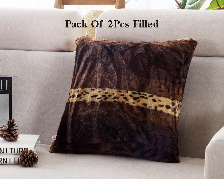 Relaxsit Pack of 2 Home Decor Animal Skin Tiger Cat Fleece  Multicolour Cushions throw pillows fall Fiber filled.