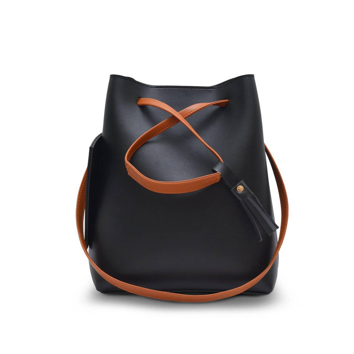 Astore Black Leather Top Handle with Adjustable Shoulder Straps Faux Leather Shoulder Bag Bucket Bag