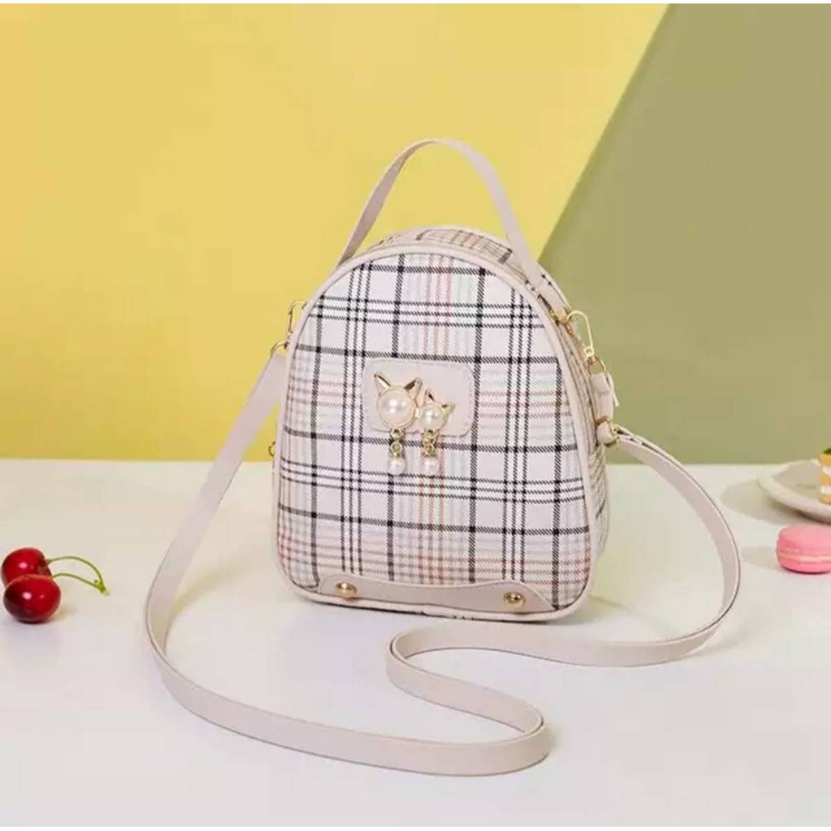 3 Styles Use Check Print Mini Bag For Girl's(Backpack+Cross Body Shoulder+Hand Carry Bag)