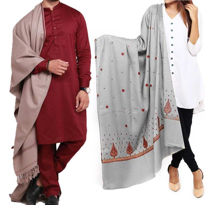 Couple Pack 2 Grey Dhussa  & Kashmiri Panpatti Shawls For Men & Women SHL-170-6