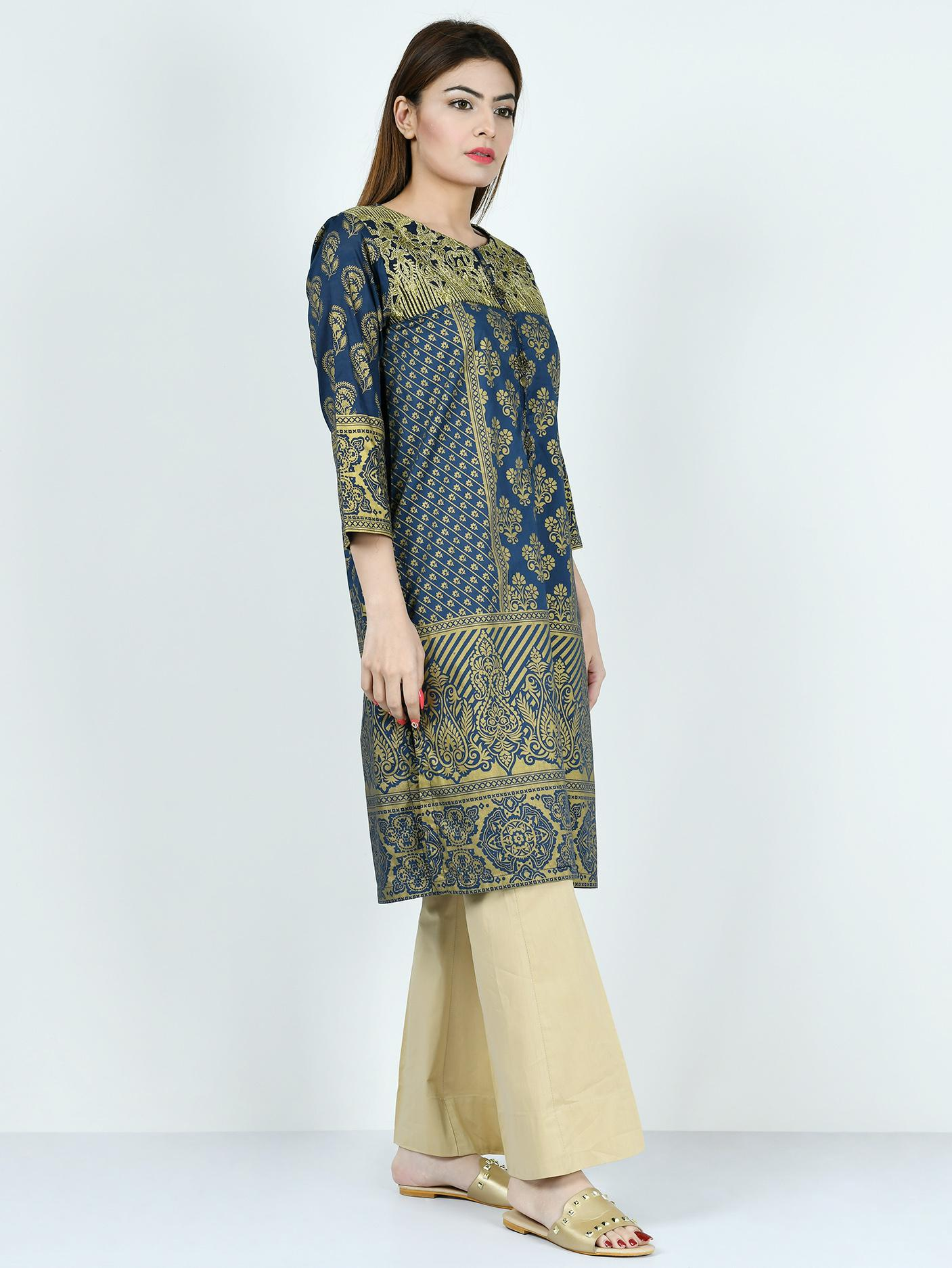 LimeLight Summer Collection 2019 Peacock Blue Stitched  Lawn Shirt For Women P2808-LRL-PBU