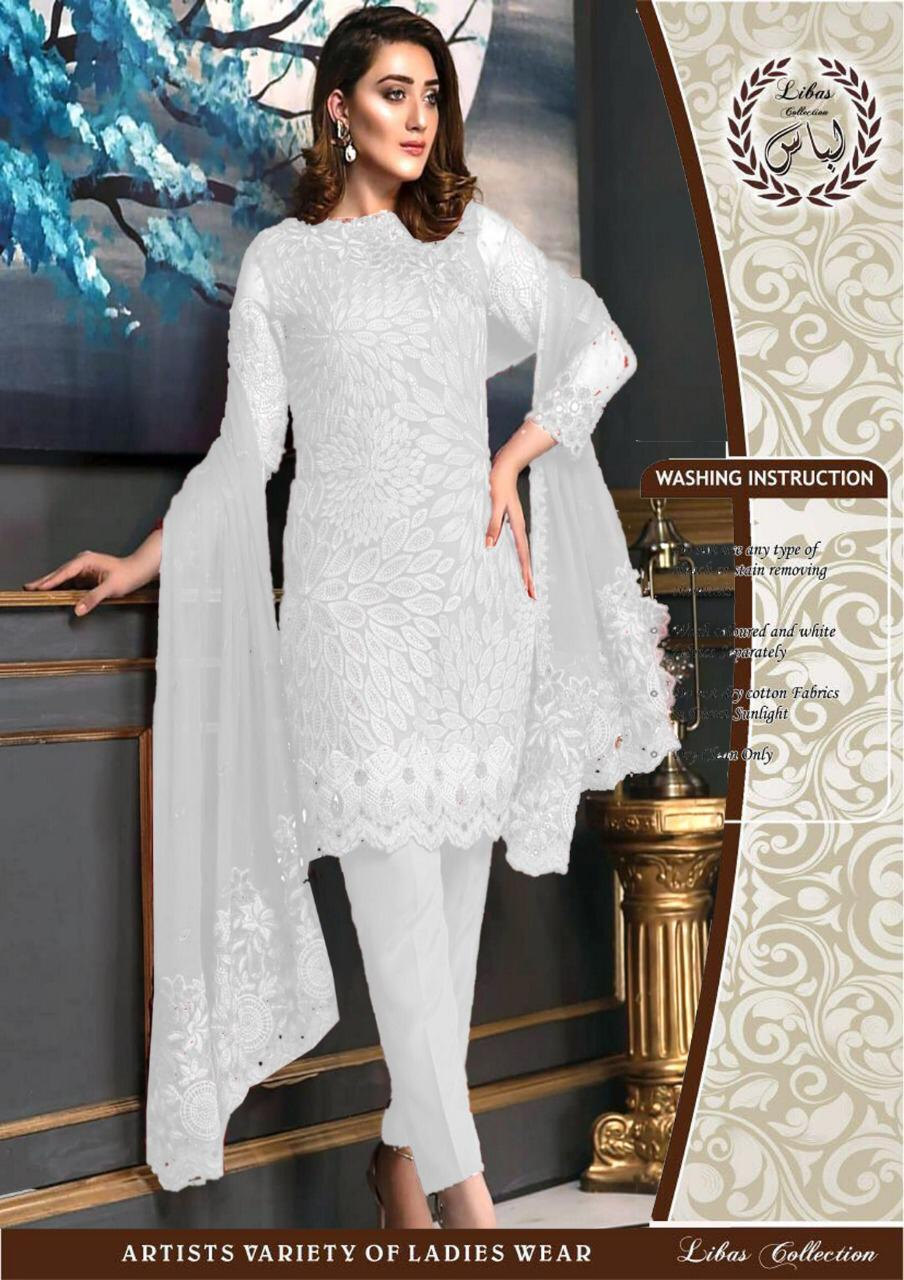 b9ce4362189 White Bridal Dress Embroidered Ladies Suit Chiffon Wedding Dress For Women  3 Piece - Unstitched Fabric