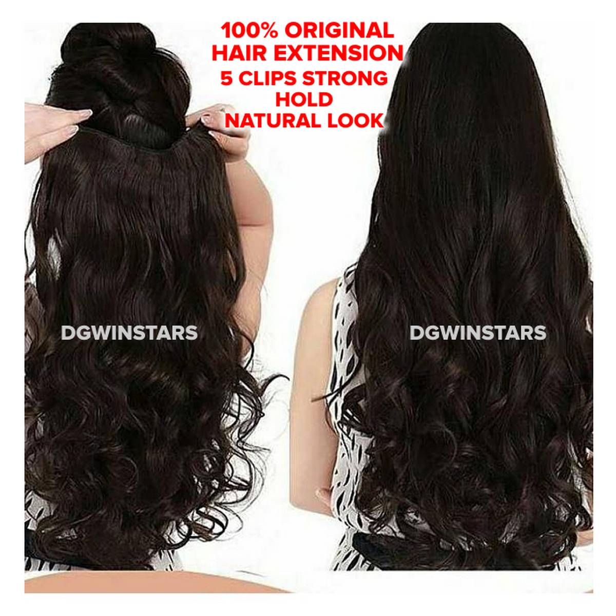 Dark Brown Hair Extension Length 30 Inches With 5 Clips Strongly Attached No Hair Fall Washable Reuseable - Black Makes hair look gorgeous Easy to use Makes hair look trendy