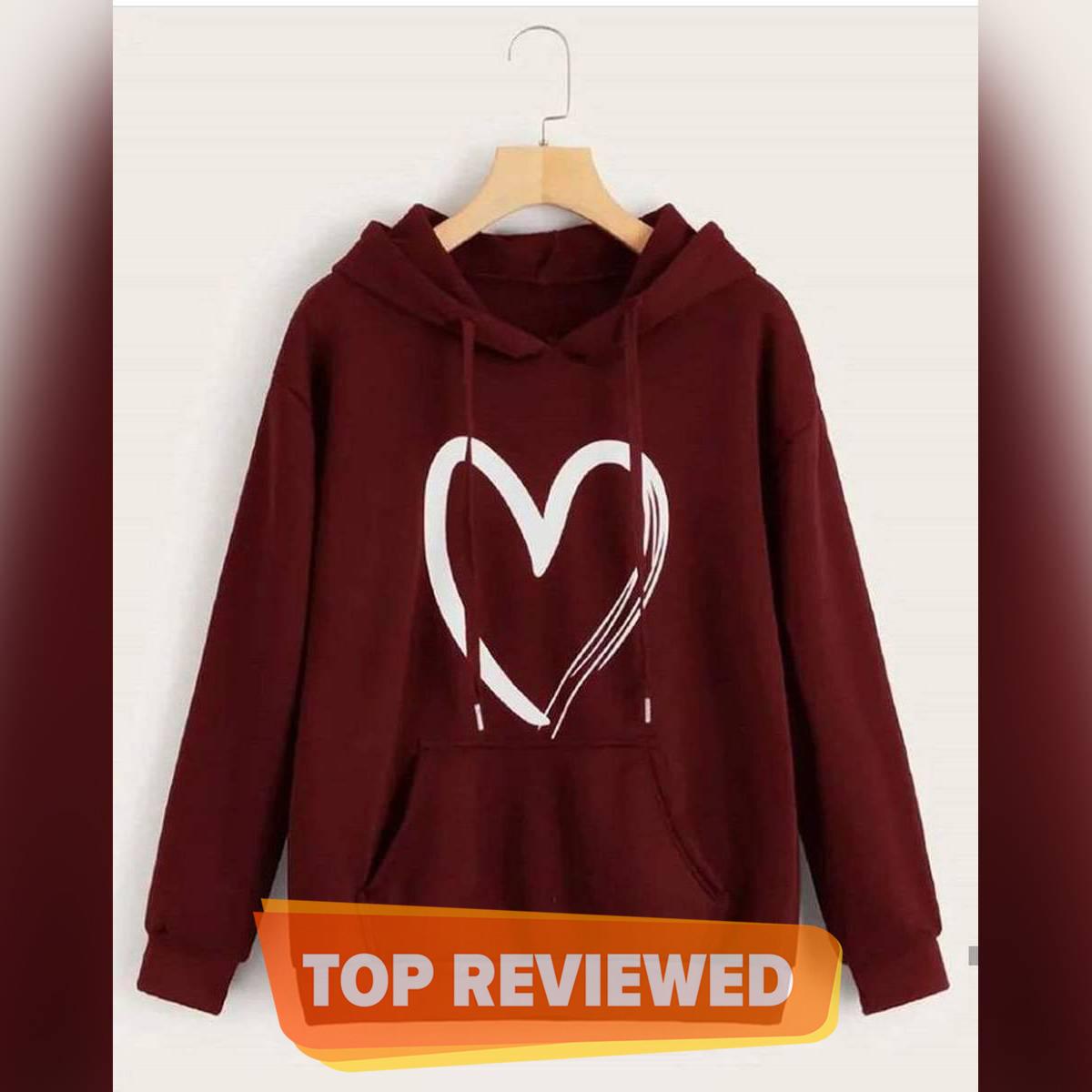 Women's Fashion Hoodie Heart-Printed Winter Collection Fleece Heart Hoodie & Pullover Kangaroo Pocket For Women