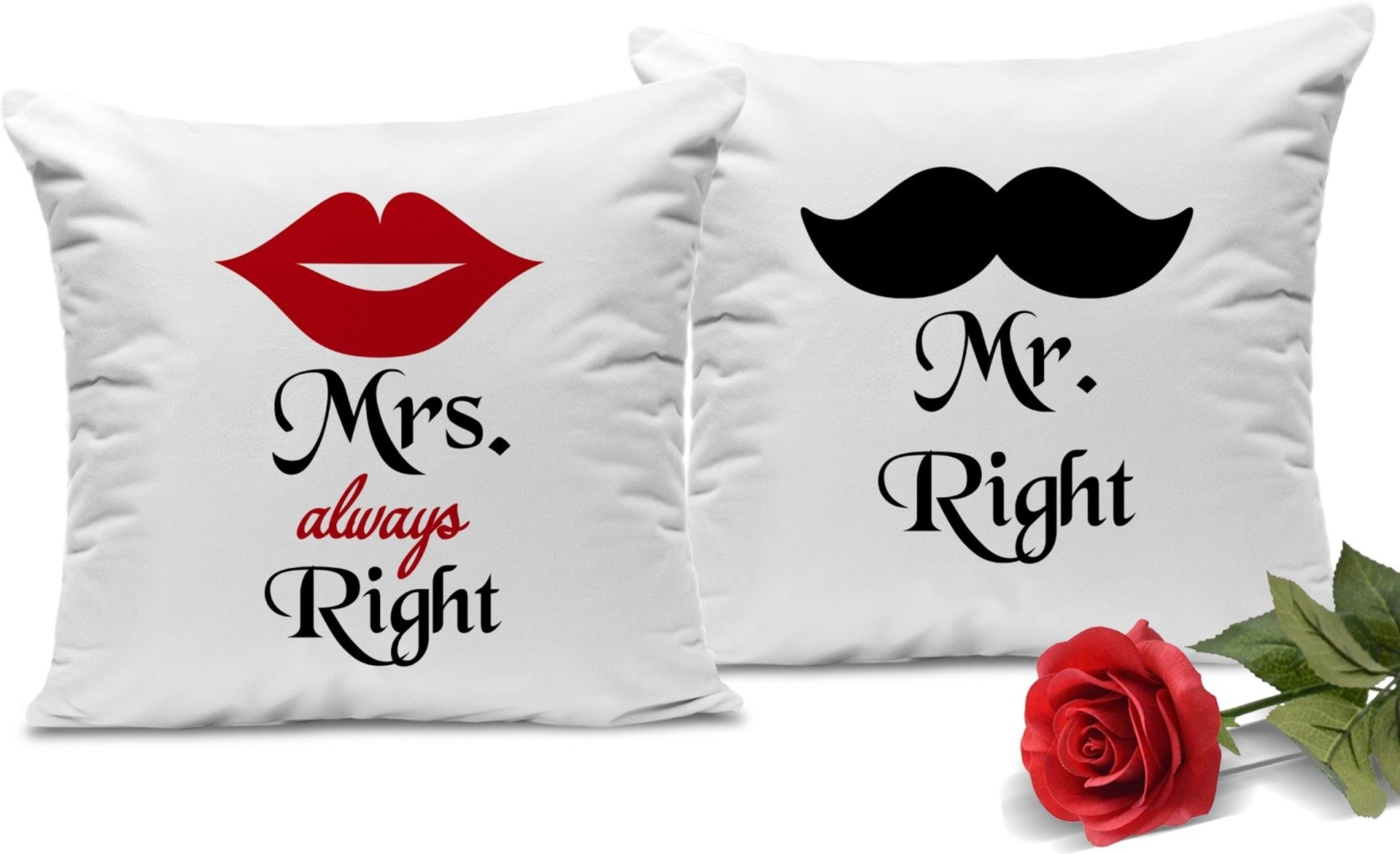 Mr. Right and Mrs. Always Right - PACK OF 2 PRINTED CUSHION COVERS 13.5x13.5 inch