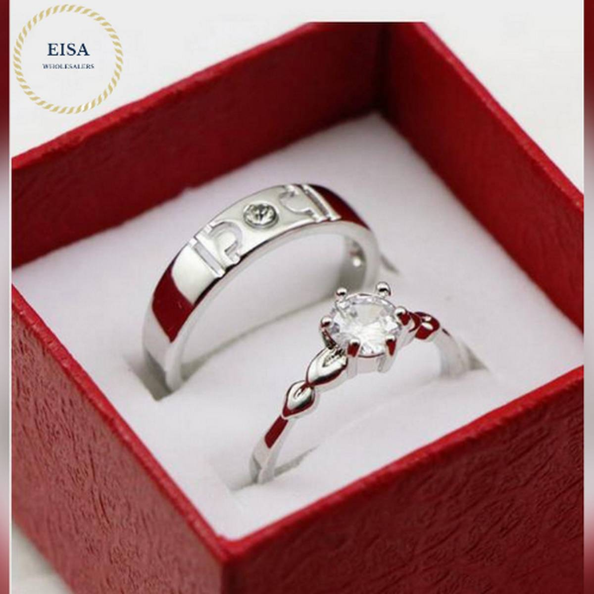 Silver Color Couple Rings For Men & Women.