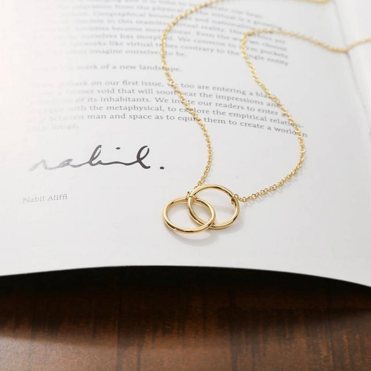 New Arrival Double Ring Clavicle Pendant Necklace for girls - Silver-Golden