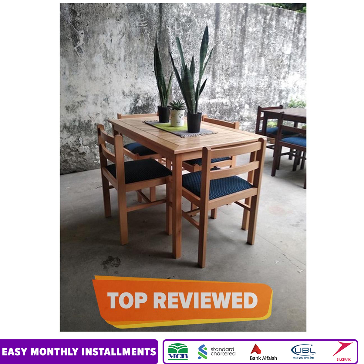 """Compact Dining Table Set Dt001 - 48X30X30"""" - Beech"""