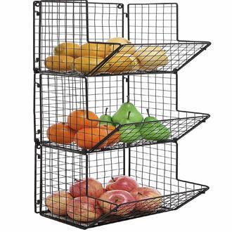 3 Tier Wall Mounted Kitchen Fruit Produce Bin Rack/Bathroom Towel Baskets Black