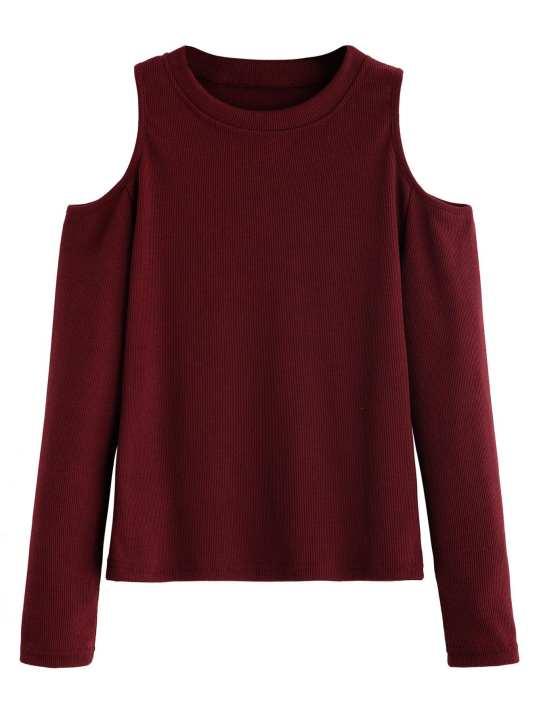 AL FAJAR cold shoulder maroon stylish tee shirt t shirt tshirt t-shirt top for women
