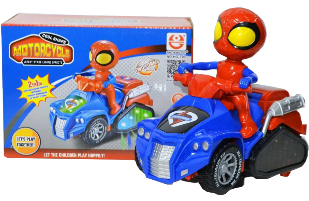 Cool Shape Spiderman Motorcycle Robot Car