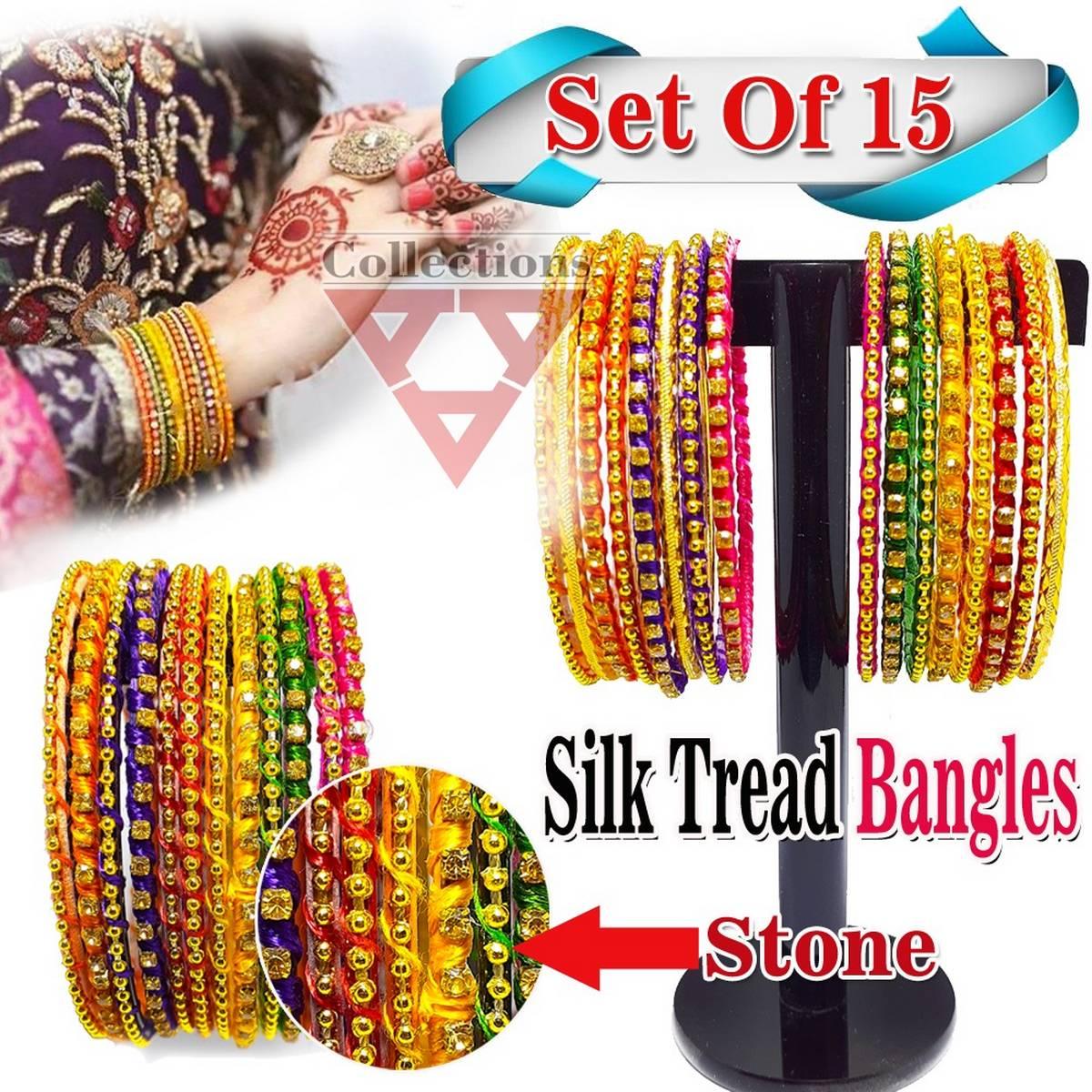 Stylish Handmade Silk Thread Bangles With Beaded For Girls (15 Bangles)