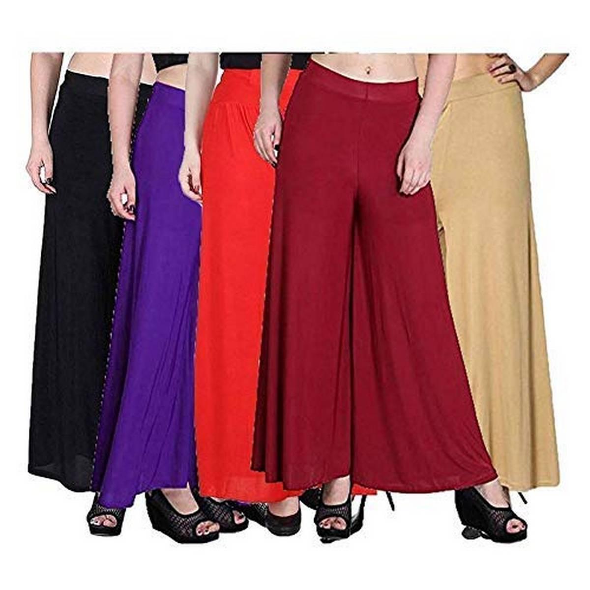 Pack Of 5 Viscose Long Palazzo Pants for Women (Black-Purple-Orange-Maroon-Skin)