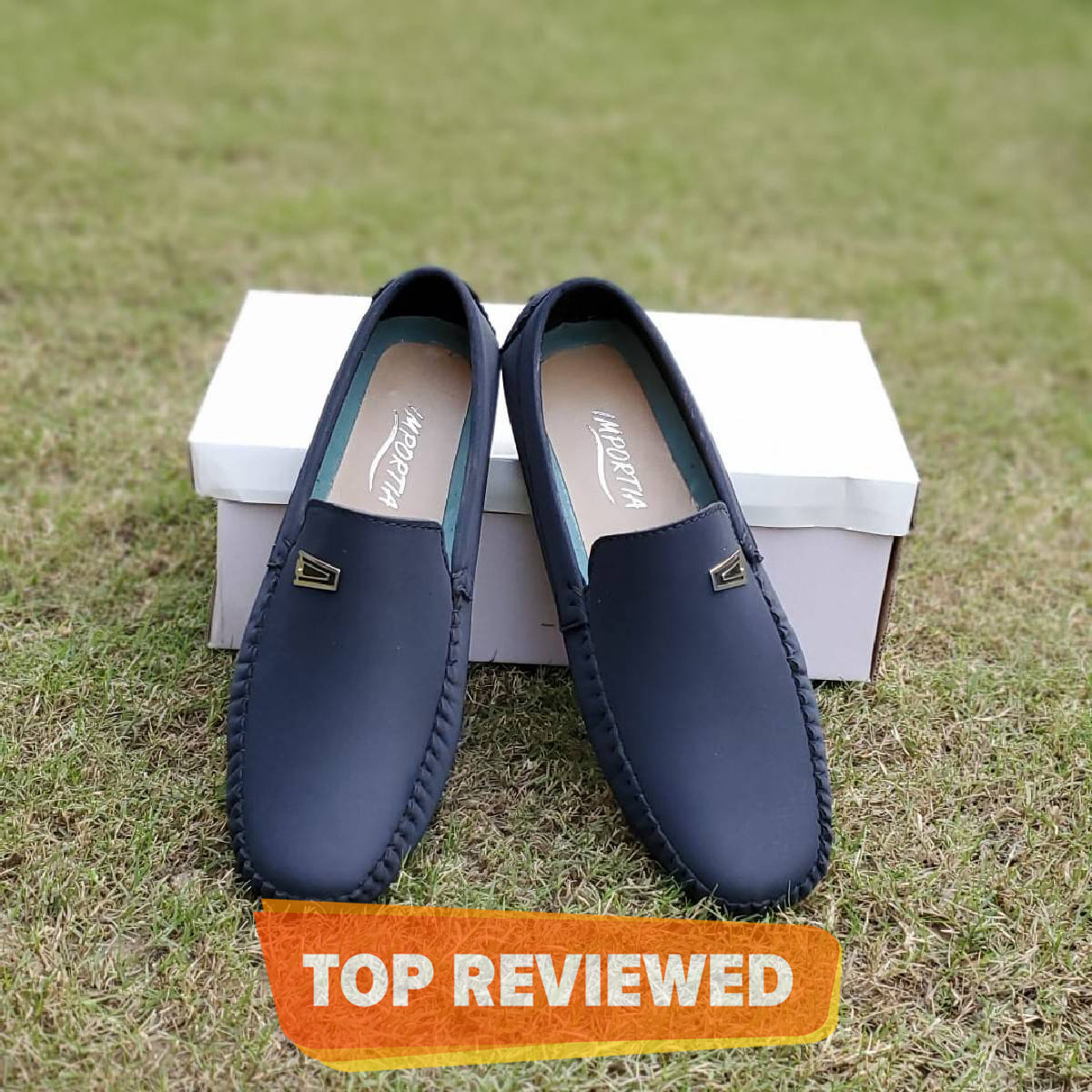 Blue Importia Synthetic Leather Loafer Shoes For Men