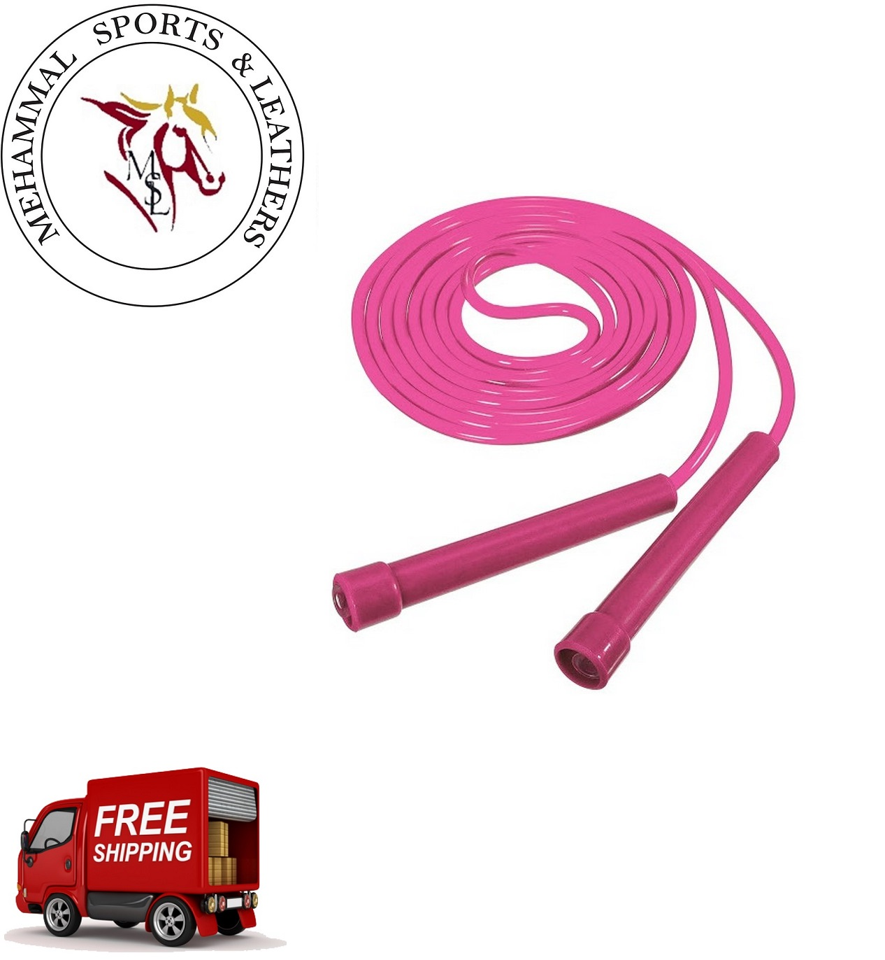 MSL Outdoor Sports Speed Jumping Rope And Anti Slip Skipping Ropes Soft Nylon Cable With Pvc Grip Handle Adjustable Length 9 Feet In Pink Use For Crossfit,Exercise,Gym,Aerobics Equiments Fitness,For Kids Girls Adults Men And Women