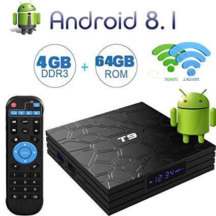 SMART TV BOX T9 RAM 4GB+ FLASH 64GB QUAD CORE 4K ULTA HD Android 8 1 Skype  Chatting,Picasa,Youtube,Flicker,Facebook,Online Movies,Etc