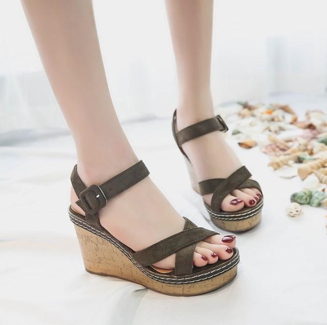 NEW CROSS STRAPS SEXY HIGH HEELED WEDGES SANDALS-GREEN