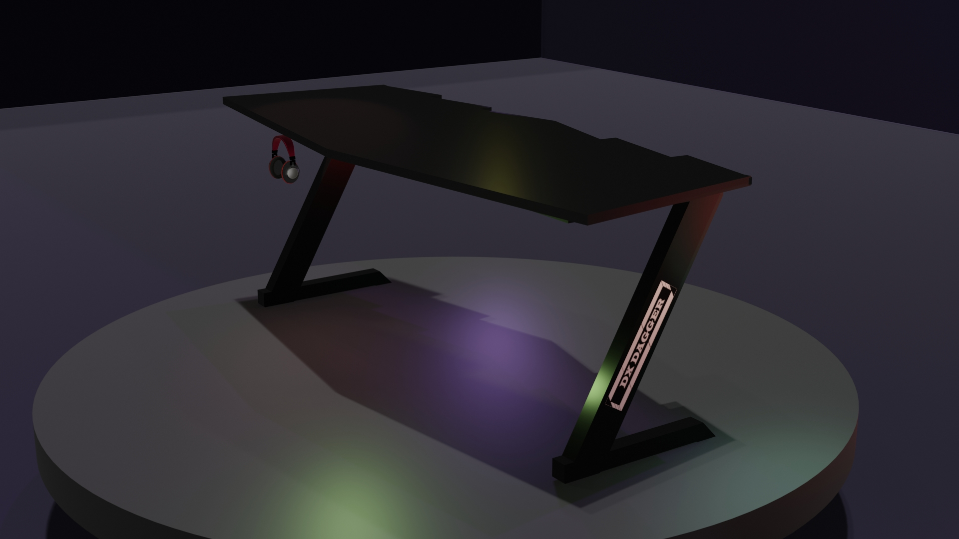 Professional Black Gaming Table 60 inches - Computer Laptop Gaming Table - RGB Remote Control Lights - Headphones Holder and Wire Management System - Branded High Quality Table for Gamers