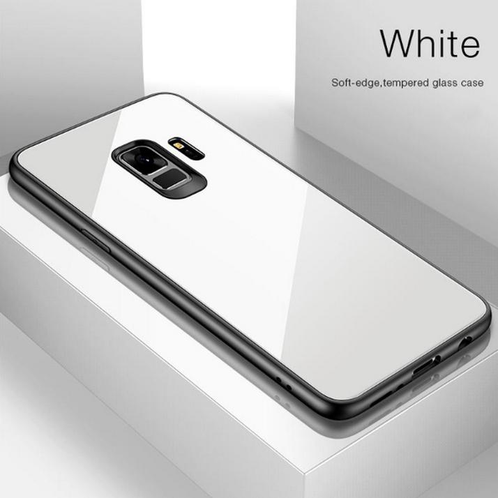 Luxury Hybrid Tempered Shine Back Glass + Soft Silicone Bumper Cover Case for Samsung Galaxy S9