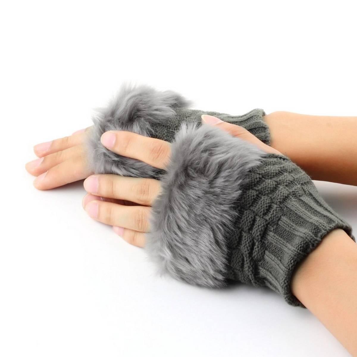Wool Gloves Fancy Winter Women Grils wool glovs Gloves Knitting Woo wool glovs l Keep Warm Short Mitten Fingerless Lady Girl Half Finger Gloves Rabbit Lady hand Gloves KAAA261