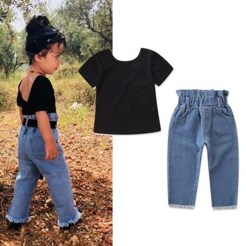 18a3ee1ade5 New Fashion Baby Girl Kids Toddler Outfits Clothes T-shirt Tops+Jeans Pants  2PCS