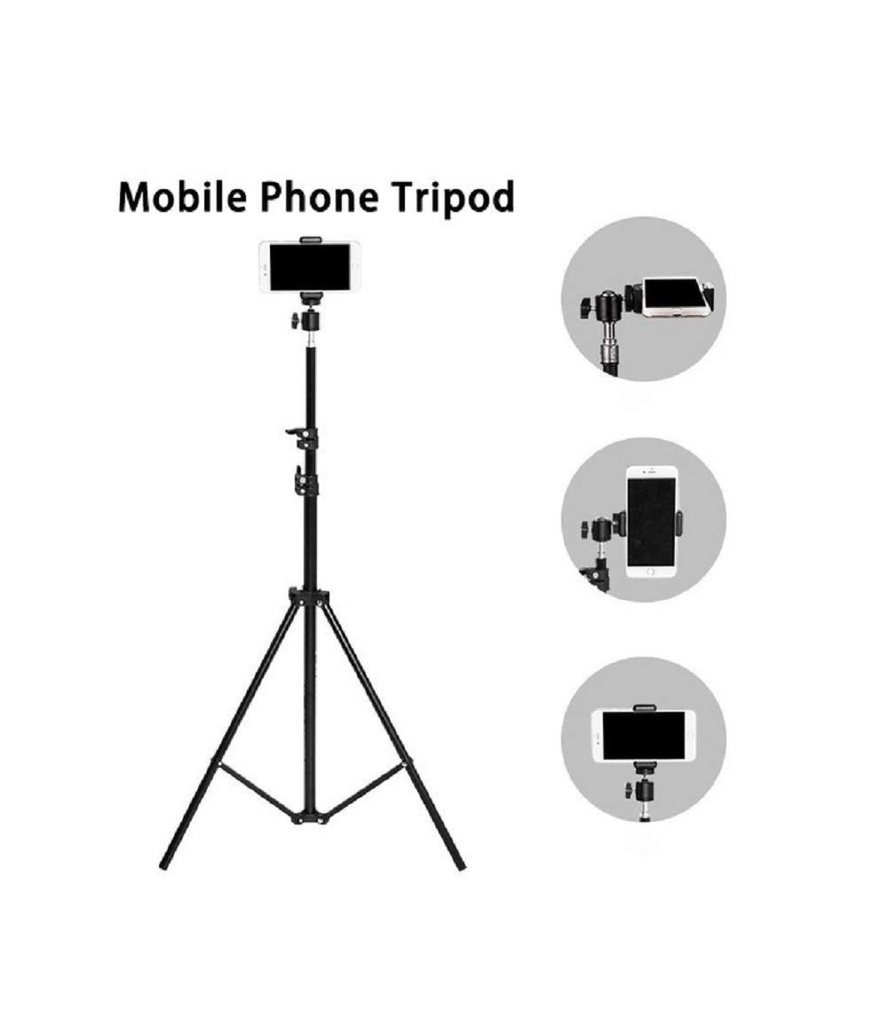 7 Feet Portable Tripod Stand With Mobile Holder for Professional Photographer & Digital Work Like Self Video Shoot|Youtuber|Photo Studio| Compatible with All Kind of Mobiles & Cameras