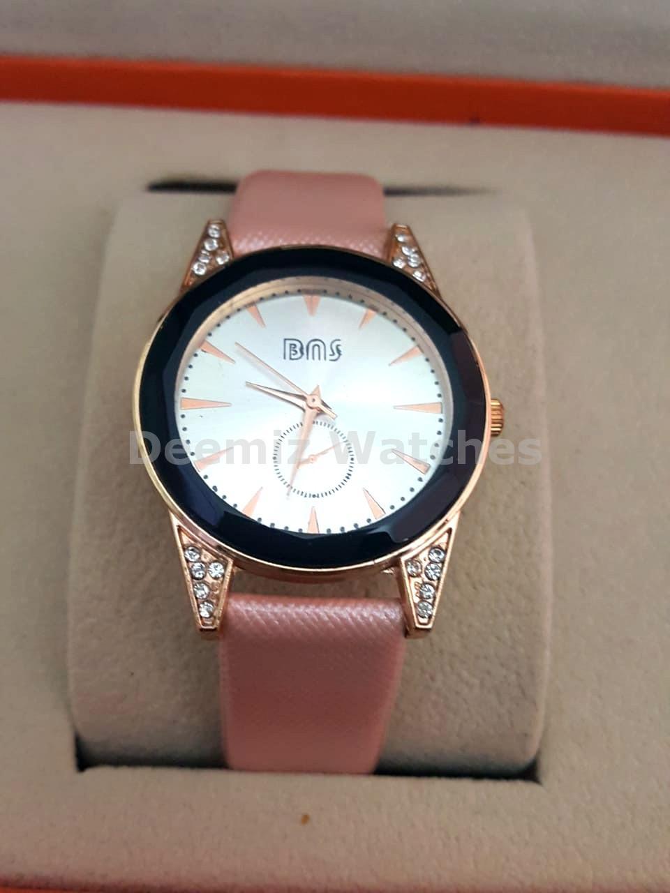 Women Designer Watch, pink Leather Strap, white dial , Analogue Watch