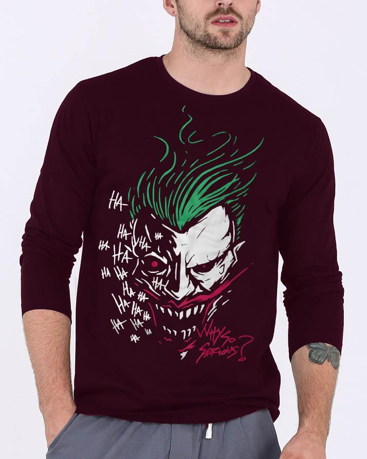 35951f974424 Joker New Fashion Maroon Round Neck Best Graphic Full Sleeve T-shirt for Men
