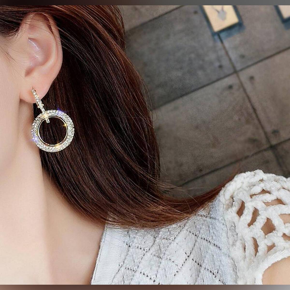 Handmade elegant earring new interlocking double hoop circle earrings making charms for women