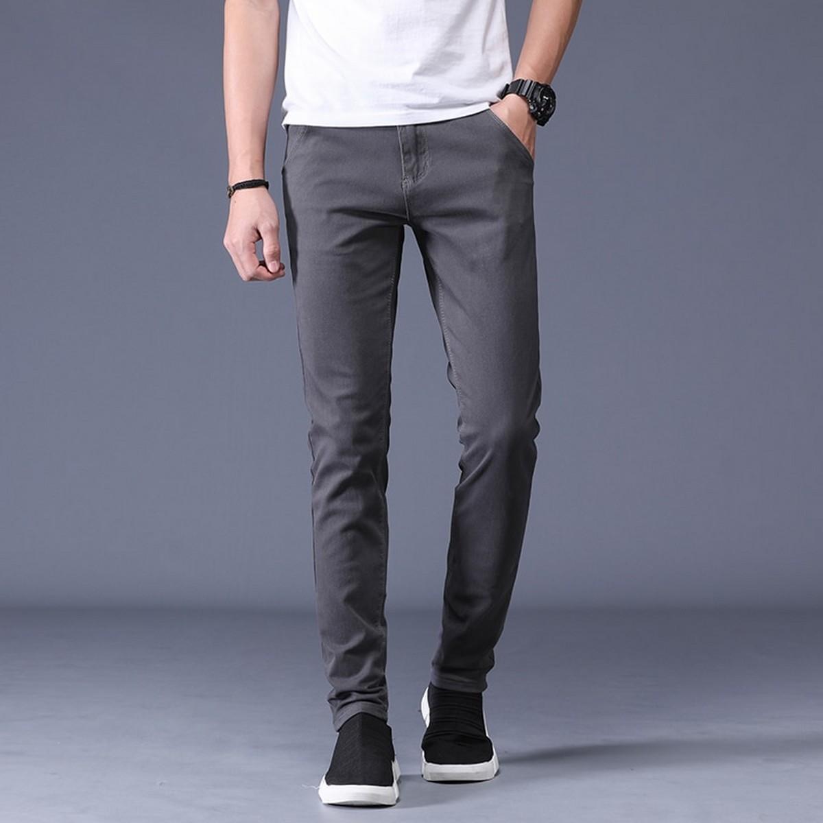 Mens Pants Cotton Jeans pants for Men in Dark Grey Color and Regular Fit Pattern