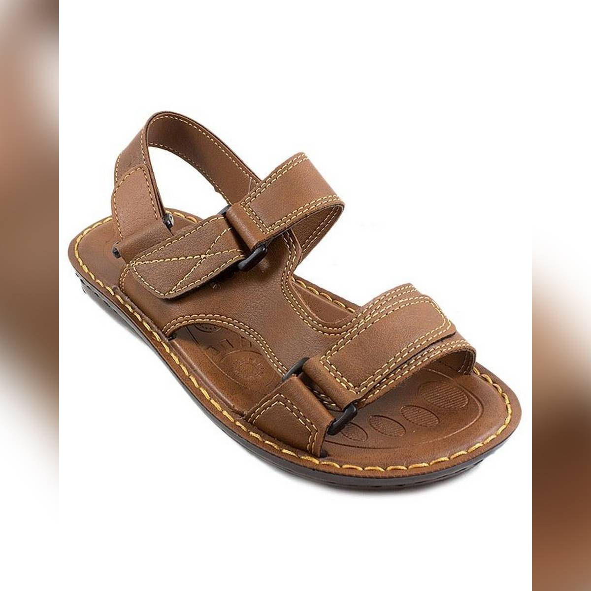 Aerosoft Soft Brown Synthetic Leather Sandals For Men P0301