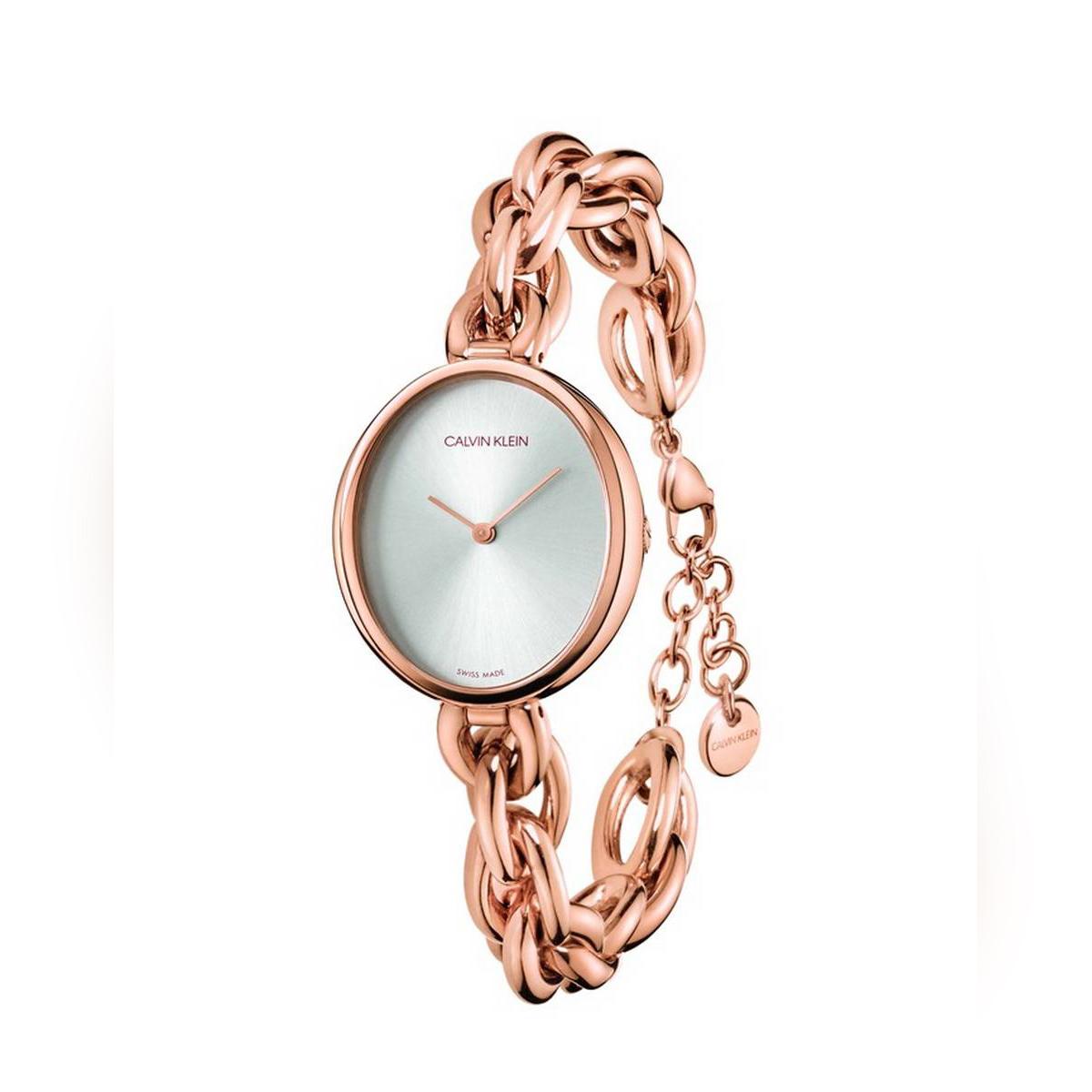 Calvin Klein Statement Silver Dial Rose Gold PVD Steel Ladies Watch - K9Y23626