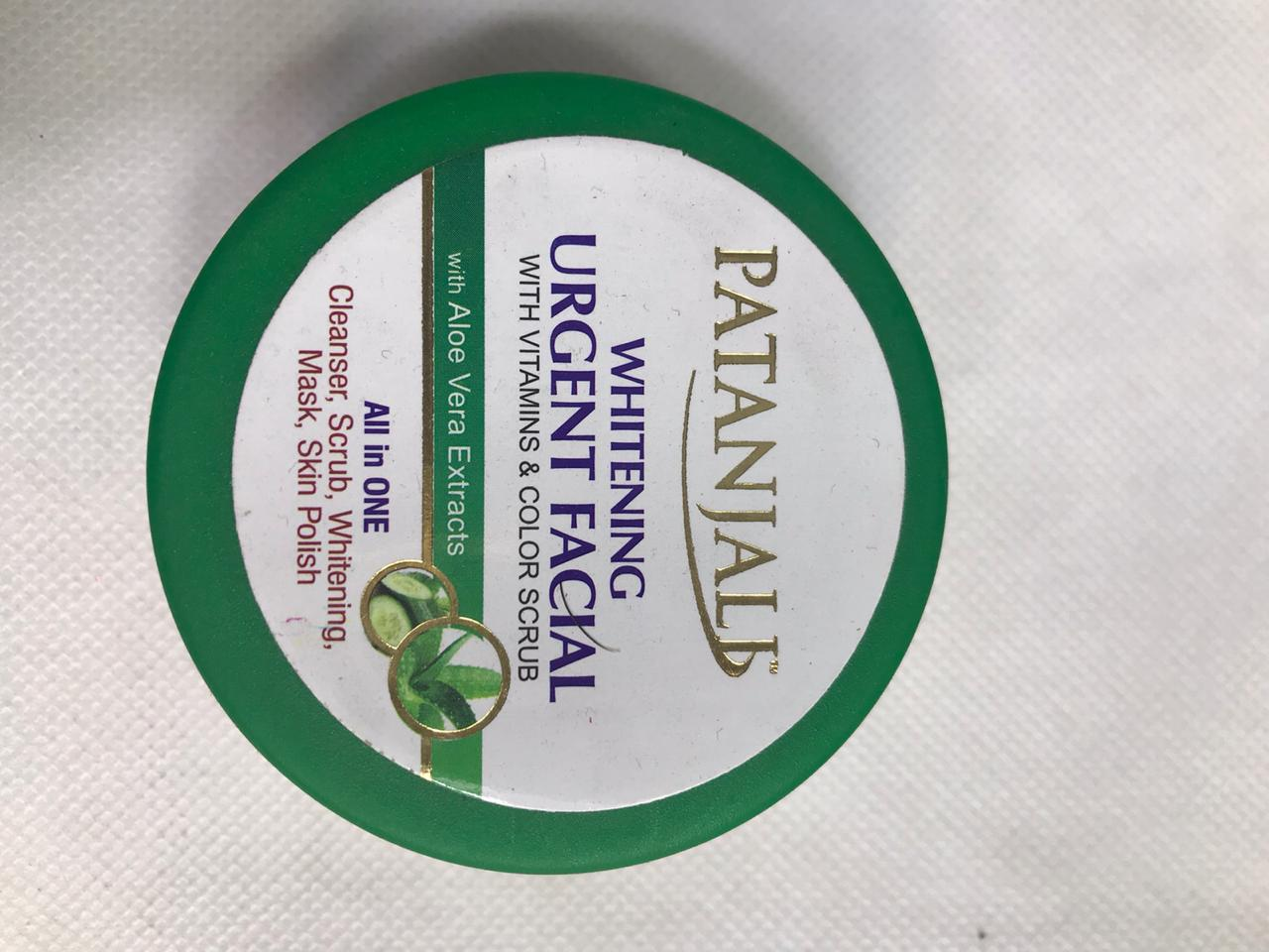 Patanjali Urgent Facial All in One Cleanser ,Scrub ,Whitening Mask ,Skin Polish
