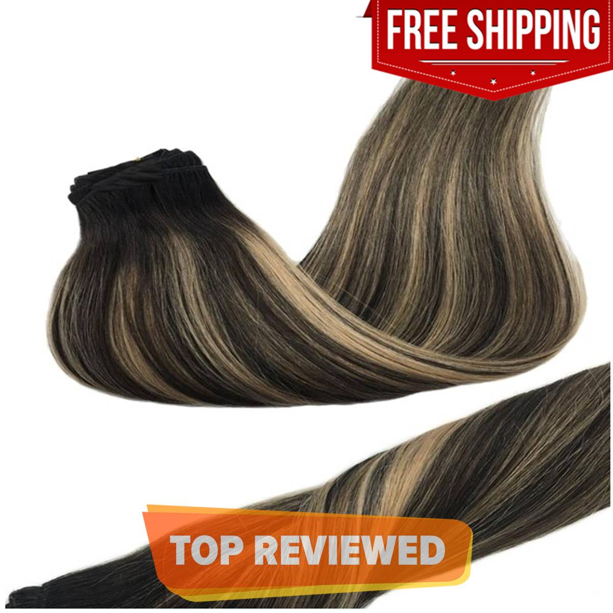 Long Straight Natural Hair Wig Extension 5 Clip In Hair Extension 30 Inch - Black Ombre Blonde