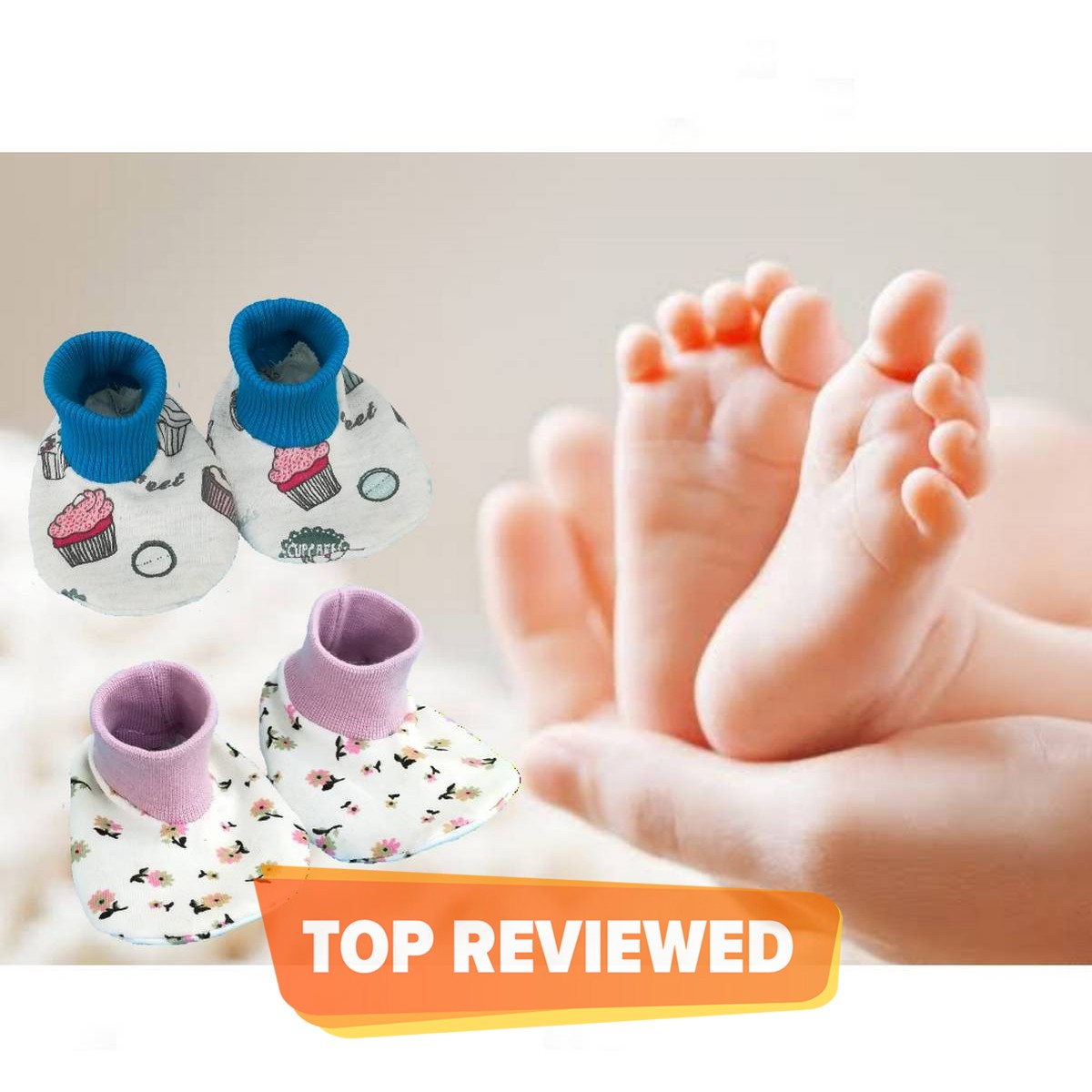 Pack Of 2 Pairs Soft Cotton Booties / Socks Shoes For Newborn Babies infant