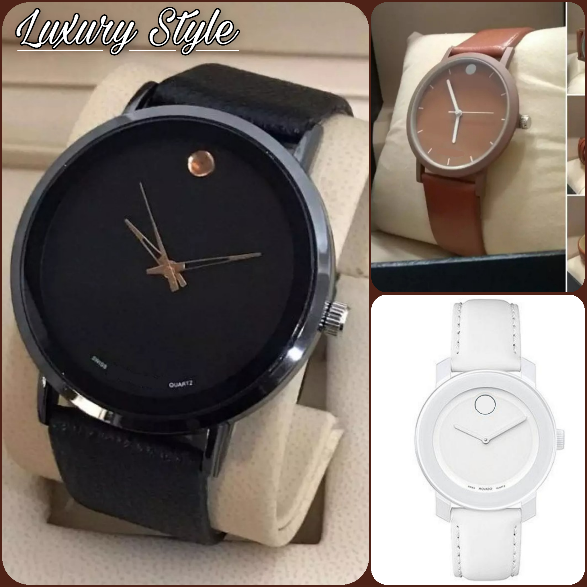 Stylish /Unique Black Leather Strap Watch For Men And Boys